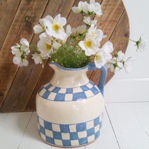 0305 Grote blauw met wit geruitte vaas