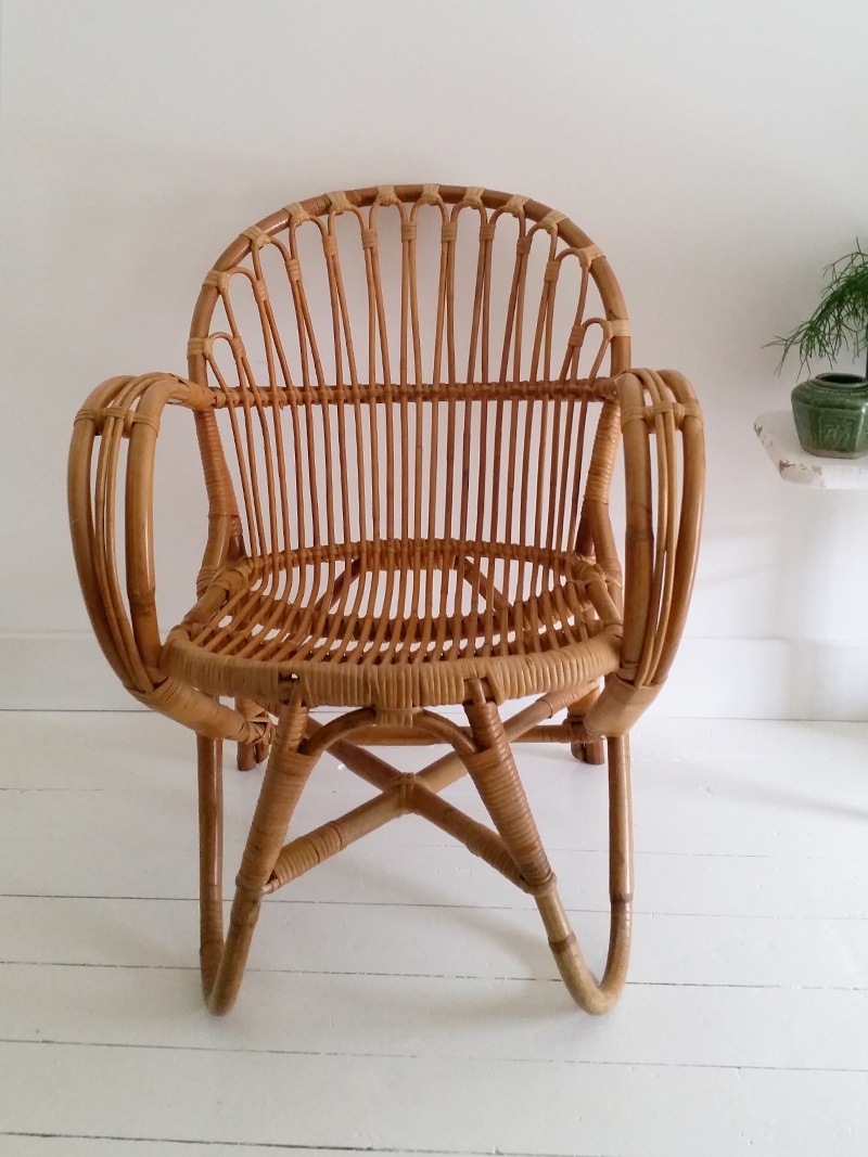Vintage Rohe Stoel.Retro Rohe Bamboe Stoel Frechic