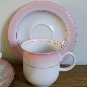 0865 Kop en schotel ombre roze