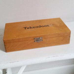 0951 Vintage houten tekendoos