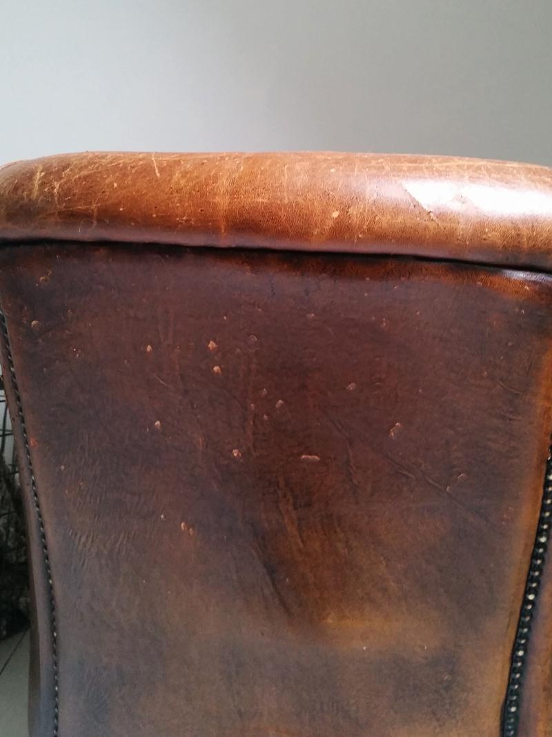 Cognac leren fauteuil frechic for Ladenblok in het engels
