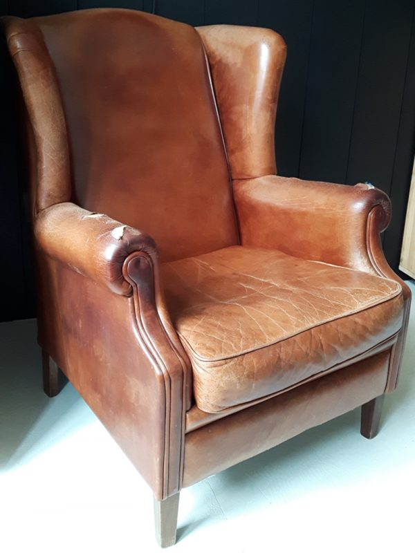 Nieuw Cognac leren fauteuil | Frechic TL-17
