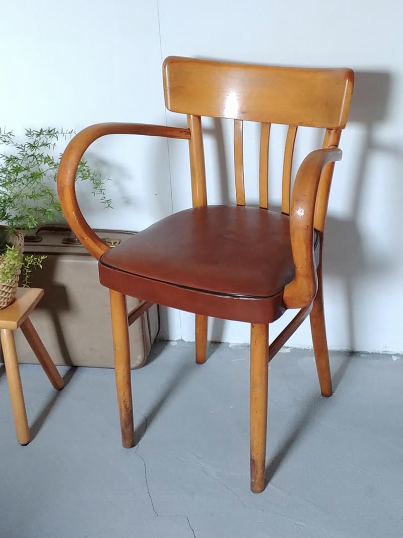 Houten Stoel Armleuning.Vintage Cafestoel Met Ronde Armleuning
