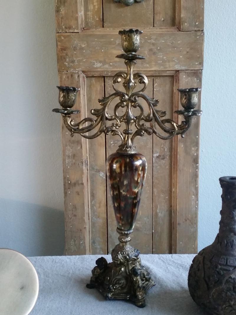 Antieke Glazen Kandelaars.Antiek Koperen Kandelaar